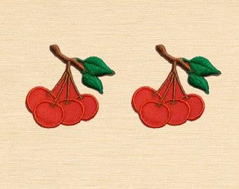 Set of 2 pcs Mini Cherry Cherries Iron On Patches Sew On Appliques
