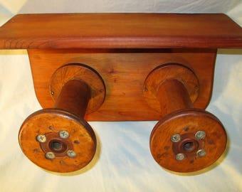 "Vintage Industrial Wood Spool Bobbin Wooden Hat Tie Rack Towel Necklace Hooks With Shelf 15.25"""