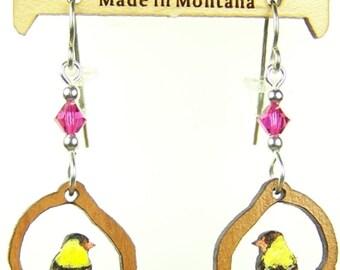 Gold Finch Laser Cut Earrings - Gift for Her - Bird Earrings - Wood Earrings - Yellow - Swarovski Beads - Dangle