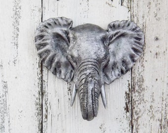 CLEARANCE,Elephant Head,Elephant Decor,Elephant Nursery,Nursery,Living Room,Bedroom,Faux Taxidermy,Wall Decor