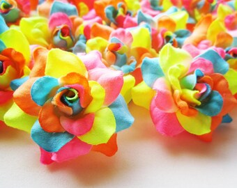 24 Neon Rainbow mini Roses Heads - Artificial Silk Flower - 1.75 inches - Wholesale Lot - for Wedding Work, Make Hair clips, headbands