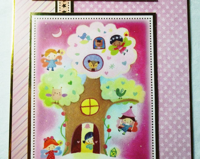 Tree House Birthday Card, Greeting Card,  Gold and Pink, Girl, Any Age, Age Number can be Added, Daughter, Niece, Grandaughter