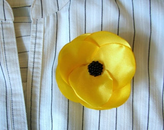 Yellow flower brooch, Brooch flower, Yellow brooch, Yellow Hair flower, Hair pin,  Boho flower, Yellow flower, Sunny flower