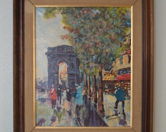 1960s-70s  Spanish Artist Brasso / Oil on Canvas /  City Street Scene / Mid Century Impressionism / Painting on Canvas