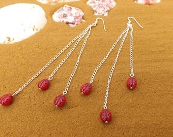 Ladybird earrings, Ladybug earrings, insect earrings, beetle earrings, chain earrings, and sterling silver ear wires.