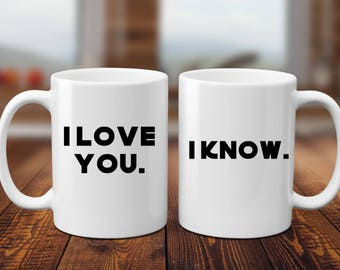 I Love You | I Know | Star Wars | Star Wars Wedding | Han and Leia | Couple Gift | Anniversary Gift | Wedding Gift | Star Wars Couple | |  |