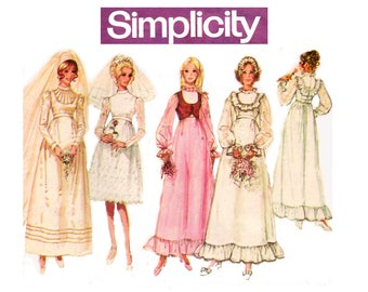 Simplicity 9608 Womens Wedding Bridesmaids Dress & Bolero Jacket 70s Vintage Sewing Pattern Size 12 Bust 34 inches UNCUT Factory Folded