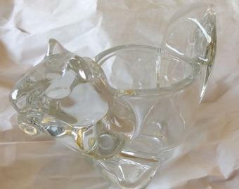 "Vintage Avon Crystal Clear glass Votive Tealight Candle Holder Squirrel shaped Animal Shape 3"" candleholder"