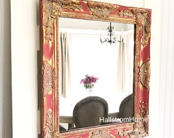 Red and Gold Antique Style Mirror, Farmhouse Style Mirror