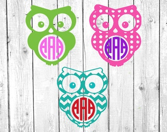 Owl Monogram, Vinyl Decal, Yeti Decal, Car Decal, Gifts for her, Phone Decal, Laptop Decal, Yeti Cup