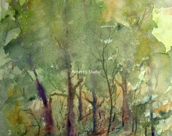 Watercolor Landscape Painting print, art reproduction, watercolor art, landscape painting, forest painting, woodland art, tree art.