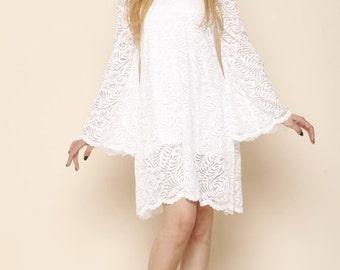Off Shoulder Boho Ivory Wedding Lace Dress Beach Wedding Dress Hippie Bell Sleeve Wedding Dress 70s Short Boho Bell Sleeve Wedding Dress