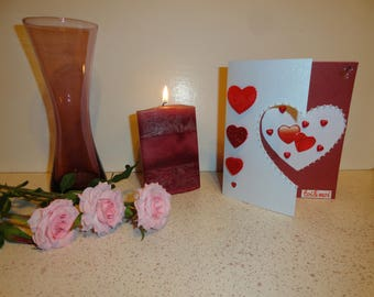 Card 6 Valentine - bdx and white with a half strand