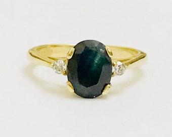 Stunning vintage 9ct yellow gold Sapphire & CZ ring - fully hallmarked
