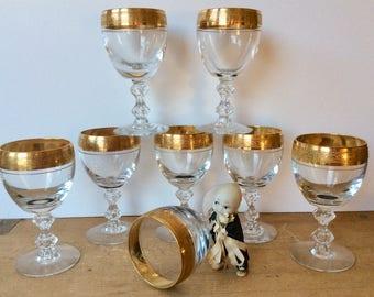 """Vintage Tiffin Franciscan Westchester Wine Glasses Gold Encrusted Bubble Stem 5"""" Set of 8 Excellent"""
