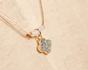 Sand Brown Silk Strand Necklace with Cubic Zirconia Oval Cross