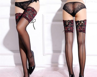 "6"" Lace Top Vintage Retro Seamed Stockings in Black with Black Seams, Point Heels and Opulent Nottingham Lace Red and Black Thigh Bands"