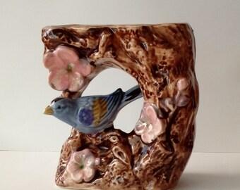 Vintage Florart Japan blue bird vase planter