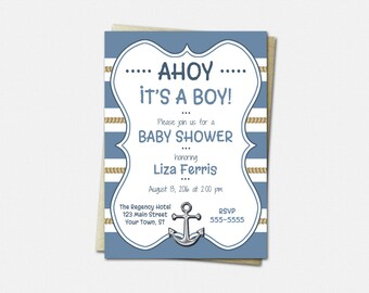 Nautical Baby Invitations - Baby Shower Invitations - Printed or Printable   anchor blue rope invites