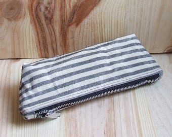 Waxed Canvas Pencil Case, Pencil Pouch, Zipper, Striped