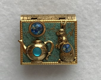 Book Pin-Rabbit jewelry-Teapot Jewelry-turquoise-gold-miniature book-vintage style-pin