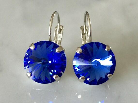 Sapphire Swarovski Crystal Earrings, Silver
