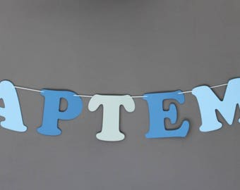 "Coated ""Baptism"" on cotton paper Garland-white baptism 2 stars"