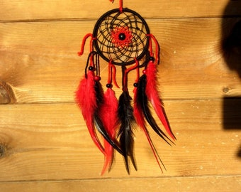Dream catcher, handmade dreamcatcher, black and red, wall decor / real 30 cm