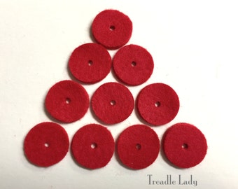10 Red Spool Fin Felts for Sewing Machines 1 inch Diameter