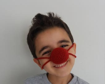 Red nose warmer without or with mustache- Crochet Nose Warmer