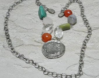 Pieces of Eight Stone and Chain Necklace