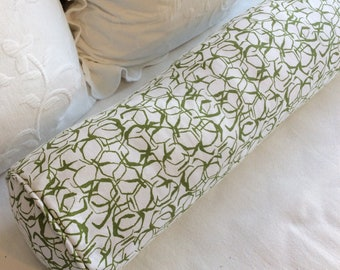 Honeycomb Herb Green Lacefield fabric 8x30 Bolster pillow includes insert