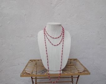 Pair Long Pink Orange Bead Necklaces, Glass Beads
