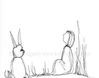 "Black and White, Line Drawing, Original, Illustration, Hand Drawn, OOAK, Drawing ""Belief""  Figure, Rabbit & landscape"