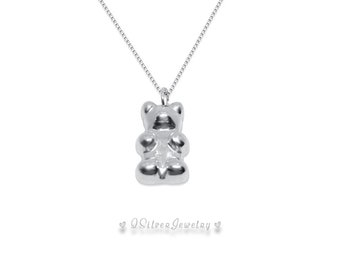 Cute Gummy Bear Sterling Silver Necklace - A Special Treat for the Special One