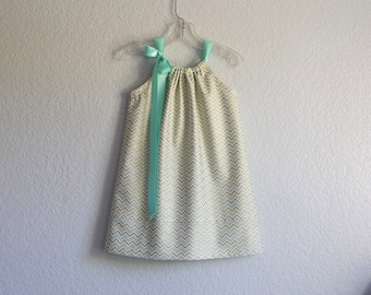 New! Girls Aqua and Gold Party Dress - Metallic Gold Chevron Stripes with Aqua and White - Size 12m, 18m, 2T, 3T, 4T, 5, 6, 8 or 10