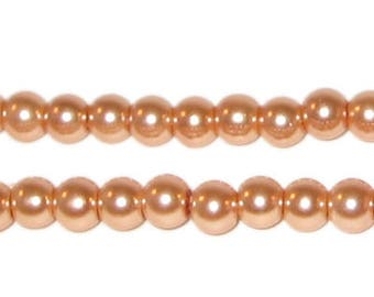 6mm Round Pale Gold Glass Pearl Bead