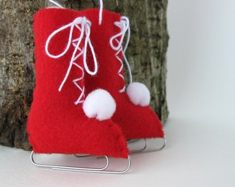 Red Ice Skates Felt Christmas Ornament Vintage Style Eco-Friendly