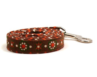 "Brown floral dog leash - Corduroy pet lead - Hazel dog leash - Grandma's Housecoat corduroy dog leash - 3/4"" wide x 4 foot long"