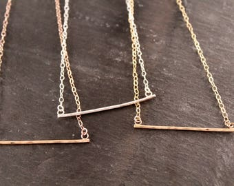 Hammered Bar Layering Necklace (Gold Sterling Silver Rose Gold Minimalist Gifts Under 50)