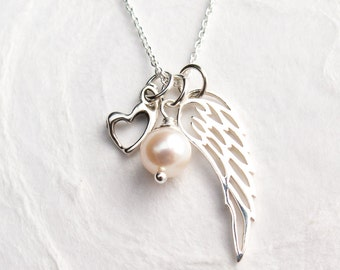 Forget me not miscarriage necklace miscarriage memorial miscarriage necklace angel wing with heart pearl remembrance gift baby memorial necklace aloadofball Choice Image