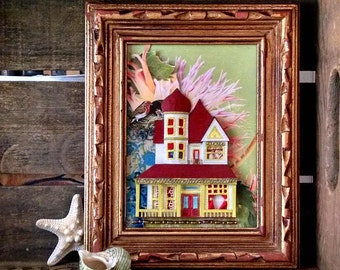 Tiny Home Sweet Home Paper Art Collage Assemblage Wood Frame