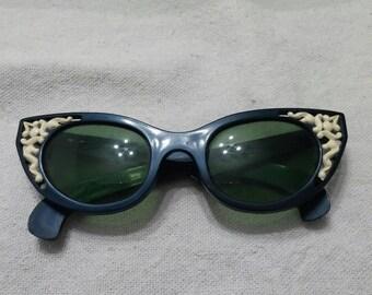 Rare Cateye 1950s Sunglasses Vintage Cool Ray Polaroid Eyewear Mid Century Rockabilly True Vintage Unique Mint Condition Amazing
