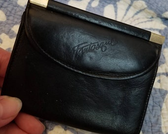 Vintage Fantastique black leather card case and change holder