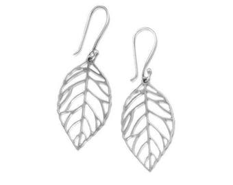 Leaf Silver Earrings, Cutout Leaves Sterling Silver Earrings, French Hooks, Nature Wire Earrings