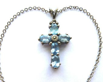 BLUE TOPAZ 925 Sterling Silver Cross, Silver Gemstone Cross, Vintage Gemstone Cross Necklace, Light Blue Gemstone Sterling Cross & Chain