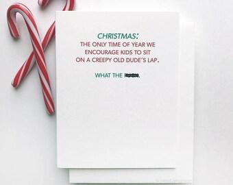 Boxed Holiday Card Set. Christmas Card. Mature Card. Santas Lap.