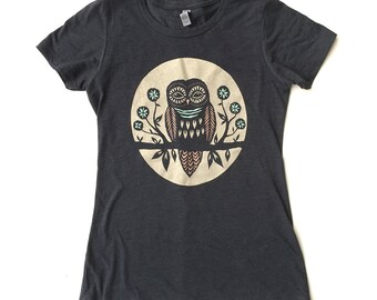 Women's Owl in a Big Moon T Shirt Womens Clothing