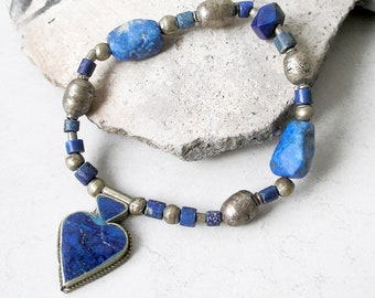 Lapis Lazuli Bracelet Vintage Afghani Silver Prayer Beads Stretch Bracelet Metaphysical Healing Stones Boho Jewelry