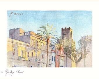 Roma Square, Oristano. ( Sardinia ) Numbered and signed author print.